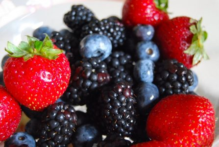 Fresh strawberries, blueberries and blackberries.
