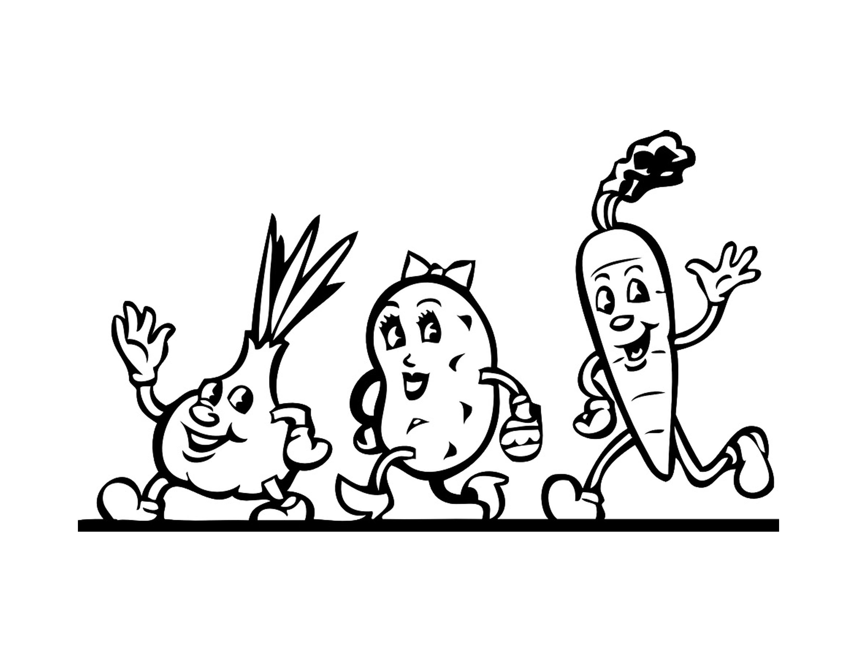 Veggie People Coloring Page