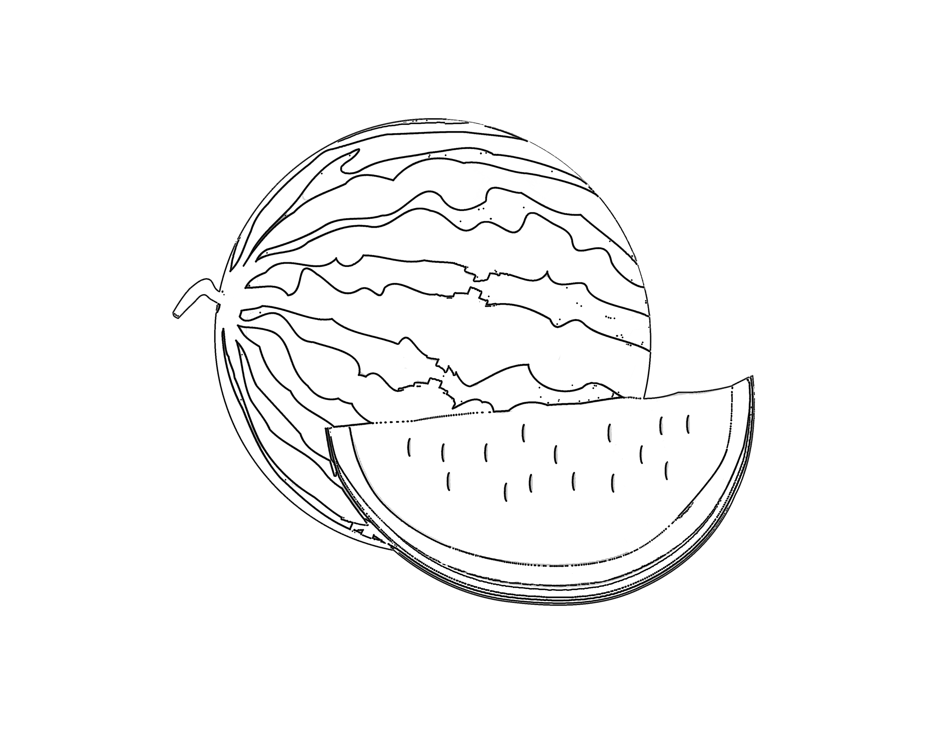 slice watermelon coloring page